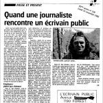 Références Article de presse (EcrivainPublic - DH - 1986)