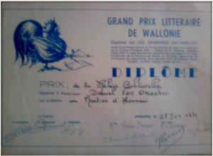 Grand Prix Littéraire de Wallonie 1974 Daniel Van Onacker